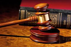 judge gavel of a judge in court - stock photo