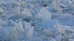 Niagara River Ice Jam 2014 - CU pan Stock Footage