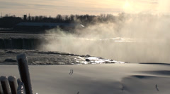 Horseshoe Falls in Winter Stock Footage