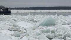 Two ice breakers on the Niagara River - stock footage