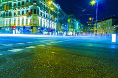city traffic at night time - stock photo