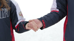 Connecting People Winter Hands Stock Footage