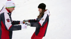 Fall on a Snowboard during Training Stock Footage