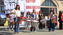 Protest concert at Kadikoy Pier for labor day Stock Footage