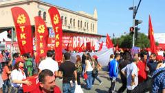 People during march at Kadikoy  Stock Footage