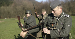 WW2 - German Soldier Group 2 - 02 - stock footage