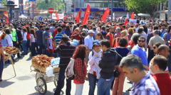 Crowds at protest - stock footage