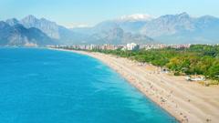 4K. Timelapse of people activity on Konyaalti beach in Antalya, Turkey - stock footage
