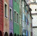 Stock Photo of row of colorful old houses in poznan