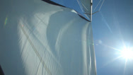 Stock Video Footage of Sail floating in the wind on a beautiful sailboat