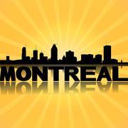 Montreal skyline reflected with sunburst illustration Stock Illustration