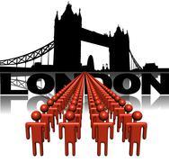 lines of people with tower bridge london illustration - stock illustration