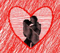 Abstract background couple kissing Stock Illustration