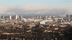 Glasgow cityscape and Campsie Fells Stock Footage