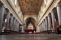 rome, italy - january 11: interior of san crisogono famous church in rome. italy - stock photo