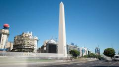 Argentina Buenos Aires Obelisk with traffic at rush hour time lapse Stock Footage