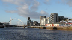 Glasgow waterfront with Clyde Arc Stock Footage