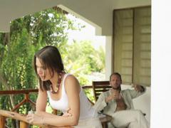 Young couple having fight, arguing on house porch NTSC Stock Footage