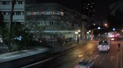 Tel Aviv street night panoramic time lapse Stock Footage