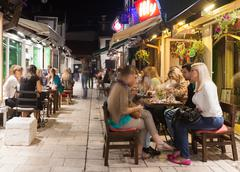 sarajevo, bosnia and herzegovina - august 13, 2012: alfresco cafe and restaurant - stock photo