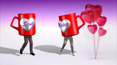 Dancing Soul Mate Mugs with Balloons Stock Footage