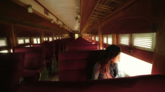 Woman inside old train Stock Footage