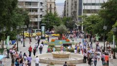 People on Syntagma Square in Athens, Greece Stock Footage