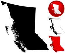Detailed map of British Columbia, Canada Stock Illustration