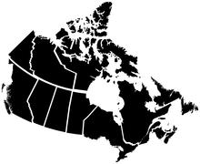 Detailed map of Canadian territories Stock Illustration