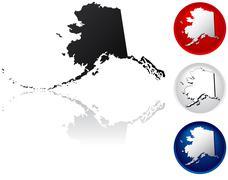 State of Alaska icons - stock illustration
