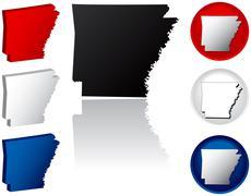 State of Arkansas icons - stock illustration