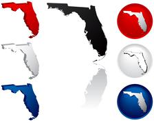 State of Florida icons - stock illustration
