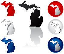 State of Michigan icons Stock Illustration