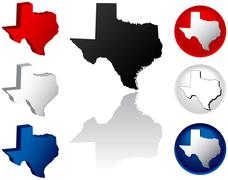 State of Texas icons - stock illustration