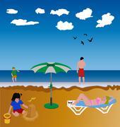 Family beach Stock Illustration