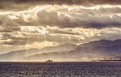 Ship in the strait of messina. italy Stock Photos