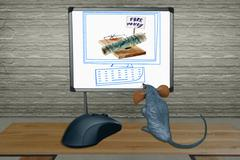 Rat watching computer screen with mouse, concept Stock Illustration