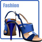 Fashion woman blue shoes poster. vector illustration Stock Illustration