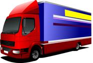 Stock Illustration of vector illustration of delivery red-blue  truck