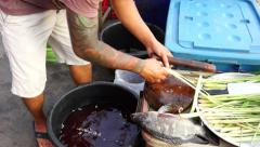 Fish Barbecue Preparation Stock Footage