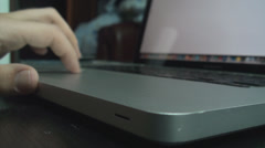Young Man Closes His Laptop Front-Shot Stock Footage