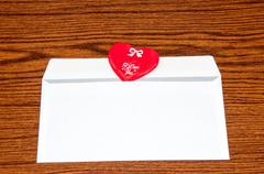 heart in envelope. happy valentines day - stock photo