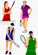 Collection of woman tennis players. colored vector illustration for designers Stock Illustration