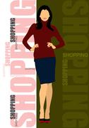 Cute shopping lady. vector colored illustration Stock Illustration