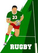 Rugby player silhouette. vector illustration Stock Illustration