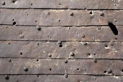 Old rusted  metal door - stock photo