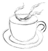 Steaming cup of tea or coffee Stock Illustration