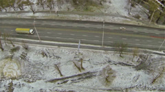 Truck on  highway. Aerial Stock Footage