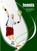 tennis player poster. colored vector illustration - stock illustration