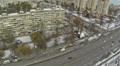 Panorama of city street in winter. Aerial view Footage